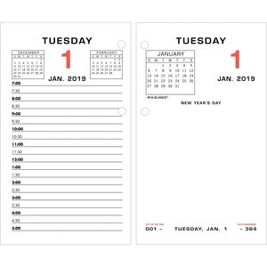 At-A-Glance Daily Two-Color Desk Calendar Refill with tabs