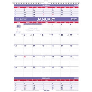 At-A-Glance Recycled 3-Months-Per-Page Wall Calendar