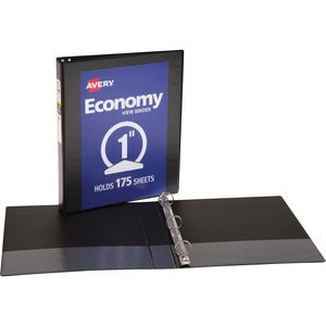 "Avery Economy Round Ring View Binders - 1"" Ring - 175 Sheet Capacity"