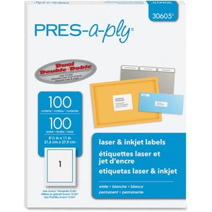 PRES-a-ply Labels for Laser and Inkjet Printers (Box of 100 Sheets)