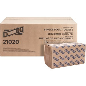 Genuine Joe 1 Ply Single-Fold Paper Towels (16 Packs of 250 Sheets)