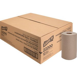 Genuine Joe 1 Ply Embossed Hardwound Roll Towels (12 rolls of 350 Ft.)