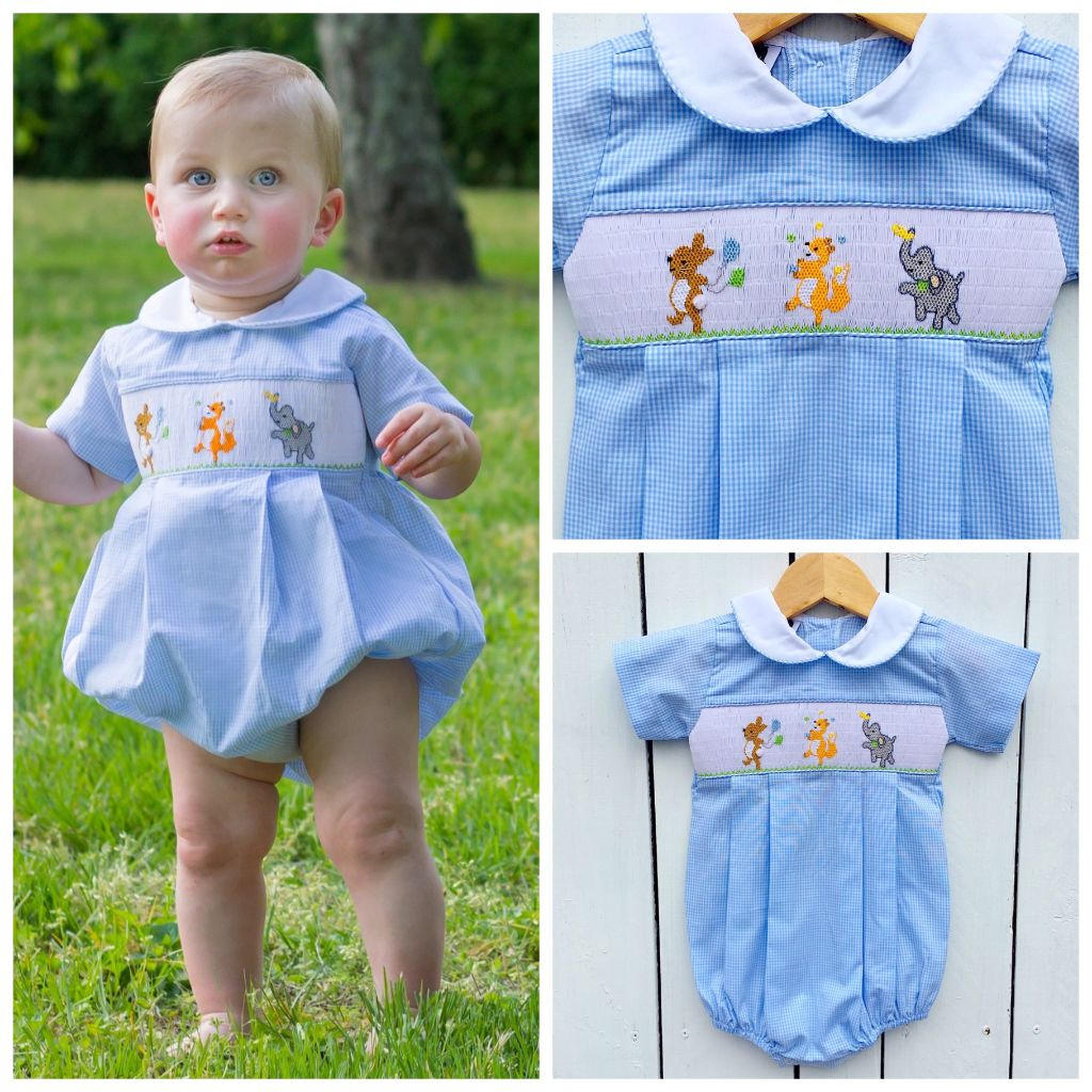 Infant Baby Toddler Boys Smocked Animal Bubble Birthday Party Smocking