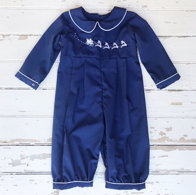 Boys Navy Blue Romper with White Piping Trim and Santa Sleigh and Reindeer Embroidery