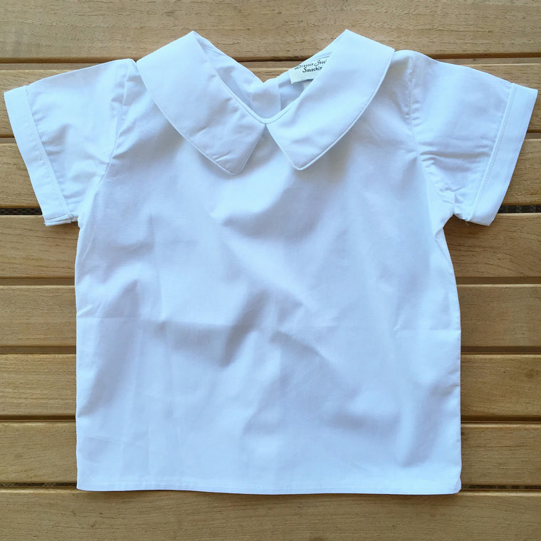 Boys White Top with Piped Collar - Dressie Jessie Smocking