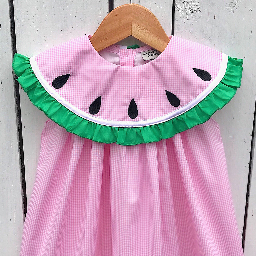 Watermelon Embroidery Infant Baby Toddler Girls Vintage Watermelon Bubble Dress