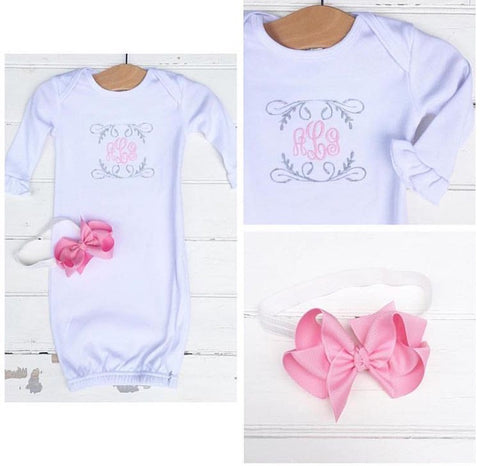 Infant Gown & Bow Set