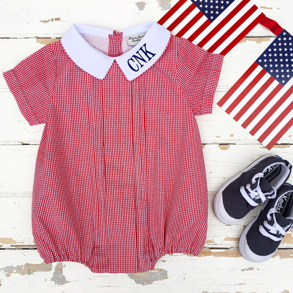 Infant Toddler Boys Red Gingham Check Bubble Jon Jon Outfit