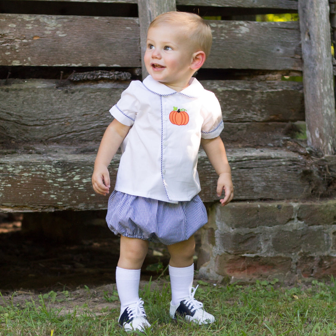 Boys Navy Gingham Short Set with White Shirt and Pumpkin Embroidery