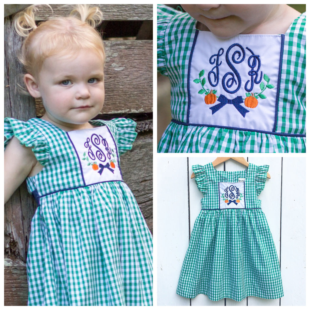 Green Gingham Pinafore Fall Monogrammed Dress with Pumpkin Wreath Embroidery