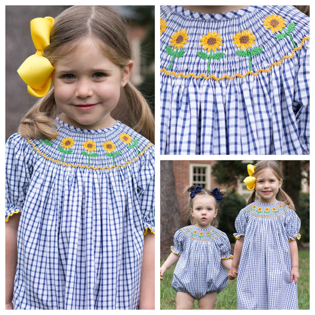 Girls Smocked Sunflower Bishop Dress
