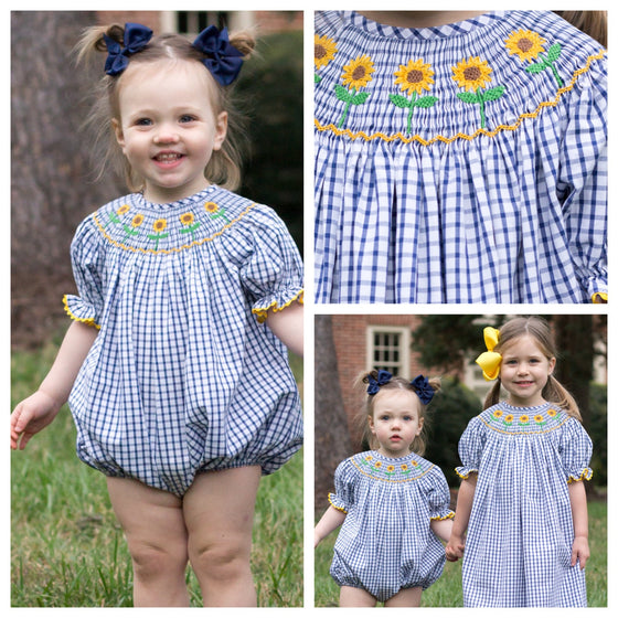 Infant Baby Toddler Girls Smocked Sunflower Bubble Romper