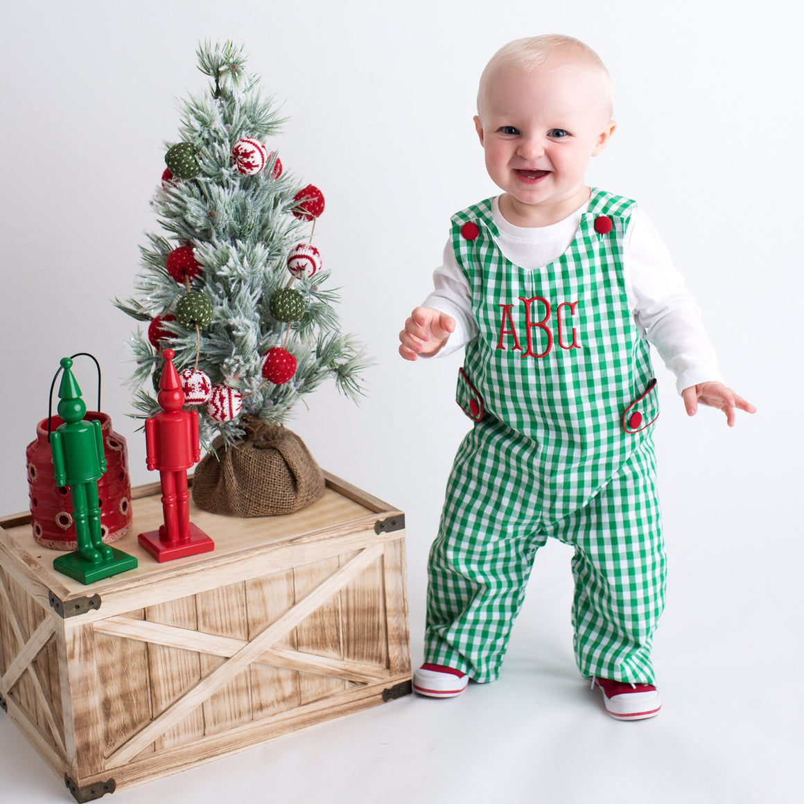Boys Green Gingham Monogrammed Christmas Longall with Red Buttons
