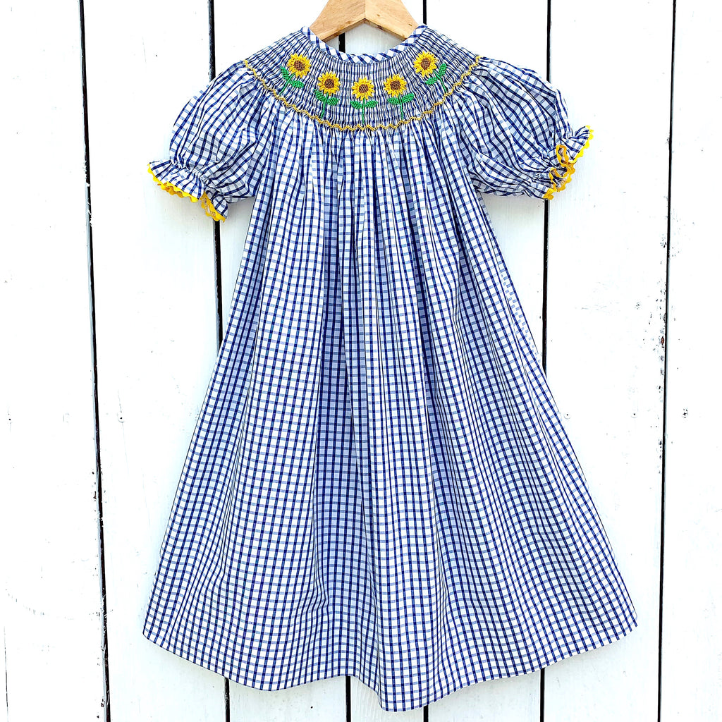 Smocked Sunflower Bishop Dress
