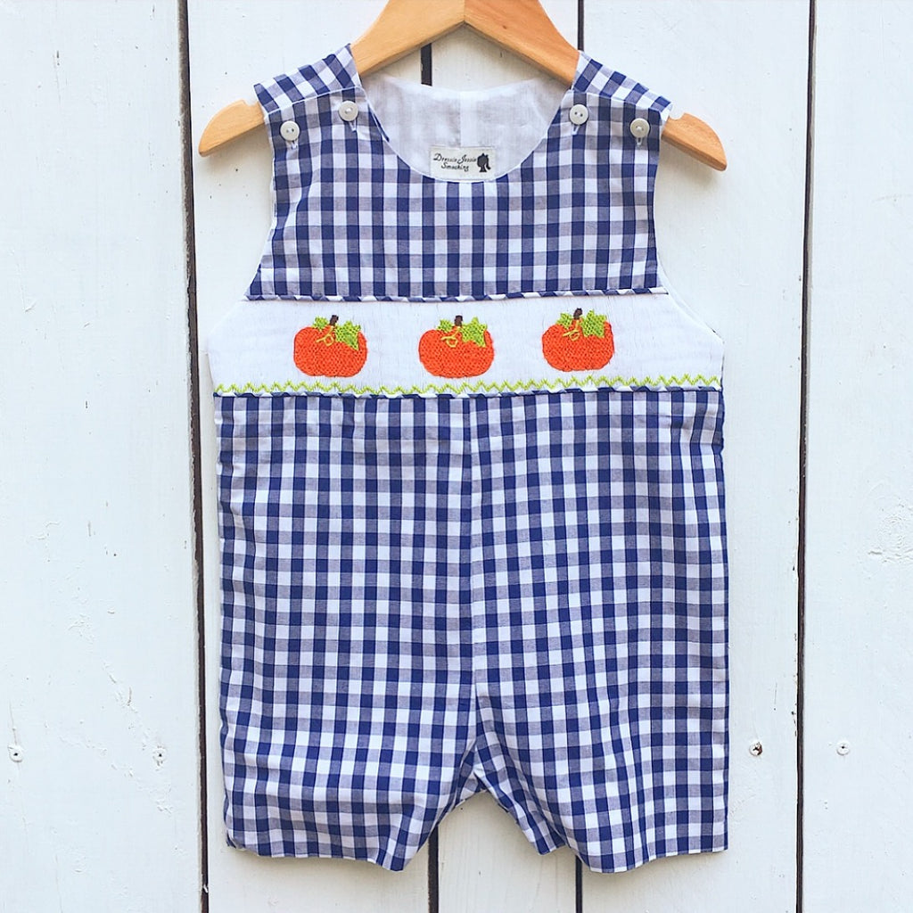 Boys Navy Gingham Smocked Pumpkin Shortall