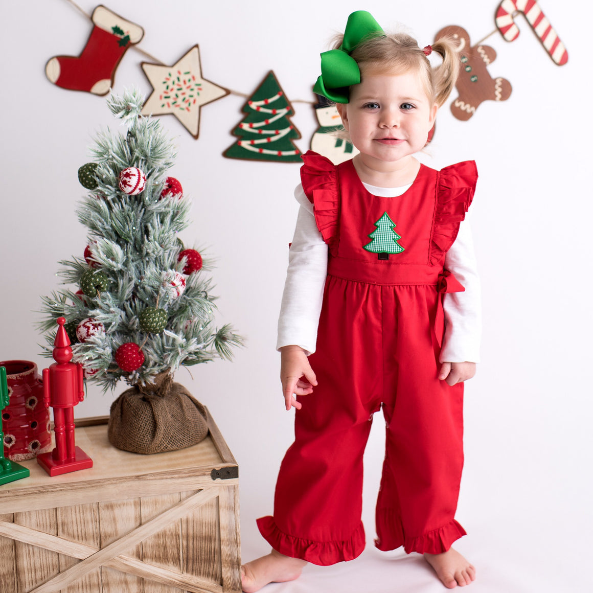 Red Ruffle Christmas Romper with Green Gingham Christmas Tree Applique