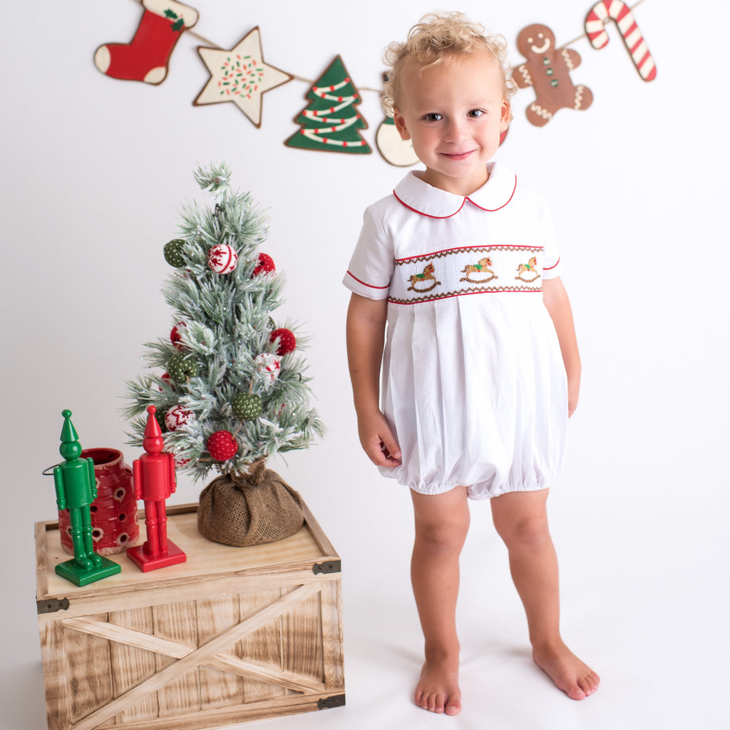 Boys smocked White Christmas Bubble with rocking horses