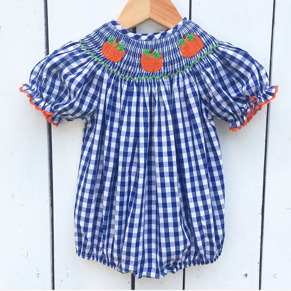Girls Navy Gingham Smocked Pumpkin Bubble