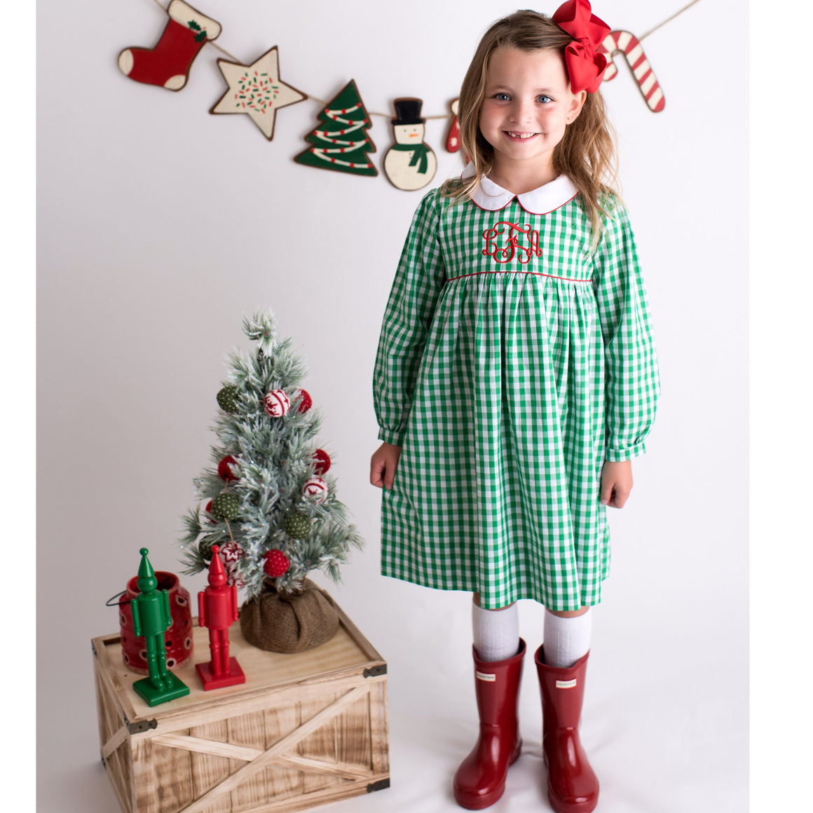 Green Gingham Monogrammed Christmas Dress with White Collar and Red Sash
