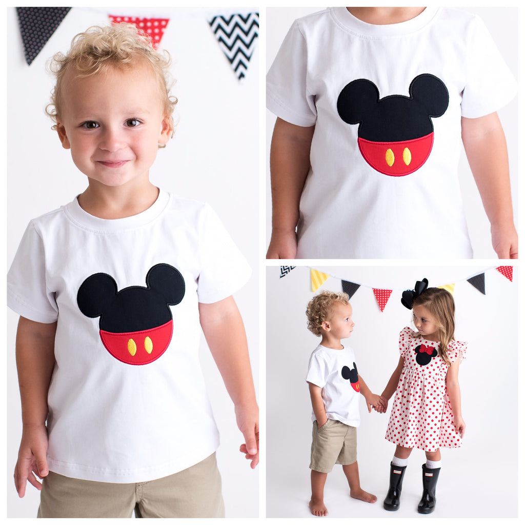 Boys White Shirt with Disney Mickey Mouse Applique