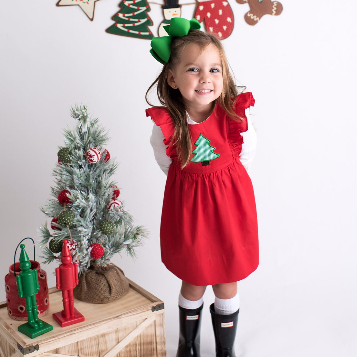 Red Pinafore Christmas Dress with Green Gingham Christmas Tree Applique