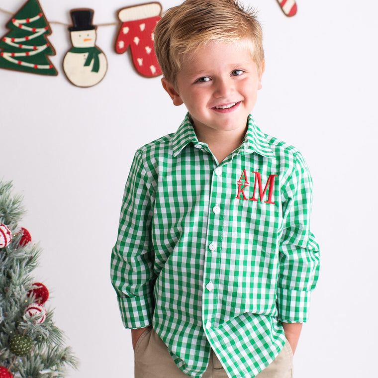 Boys Green Gingham Monogrammed Button Front Shirt