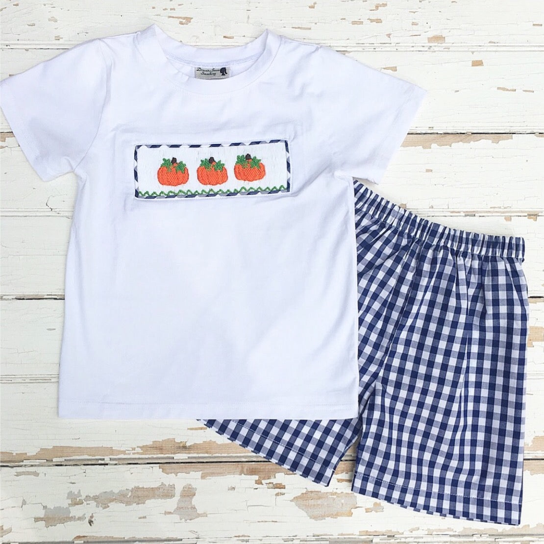 Boys Short Set with White Knit Shirt with Pumpkin Smocking and Navy Gingham Shorts