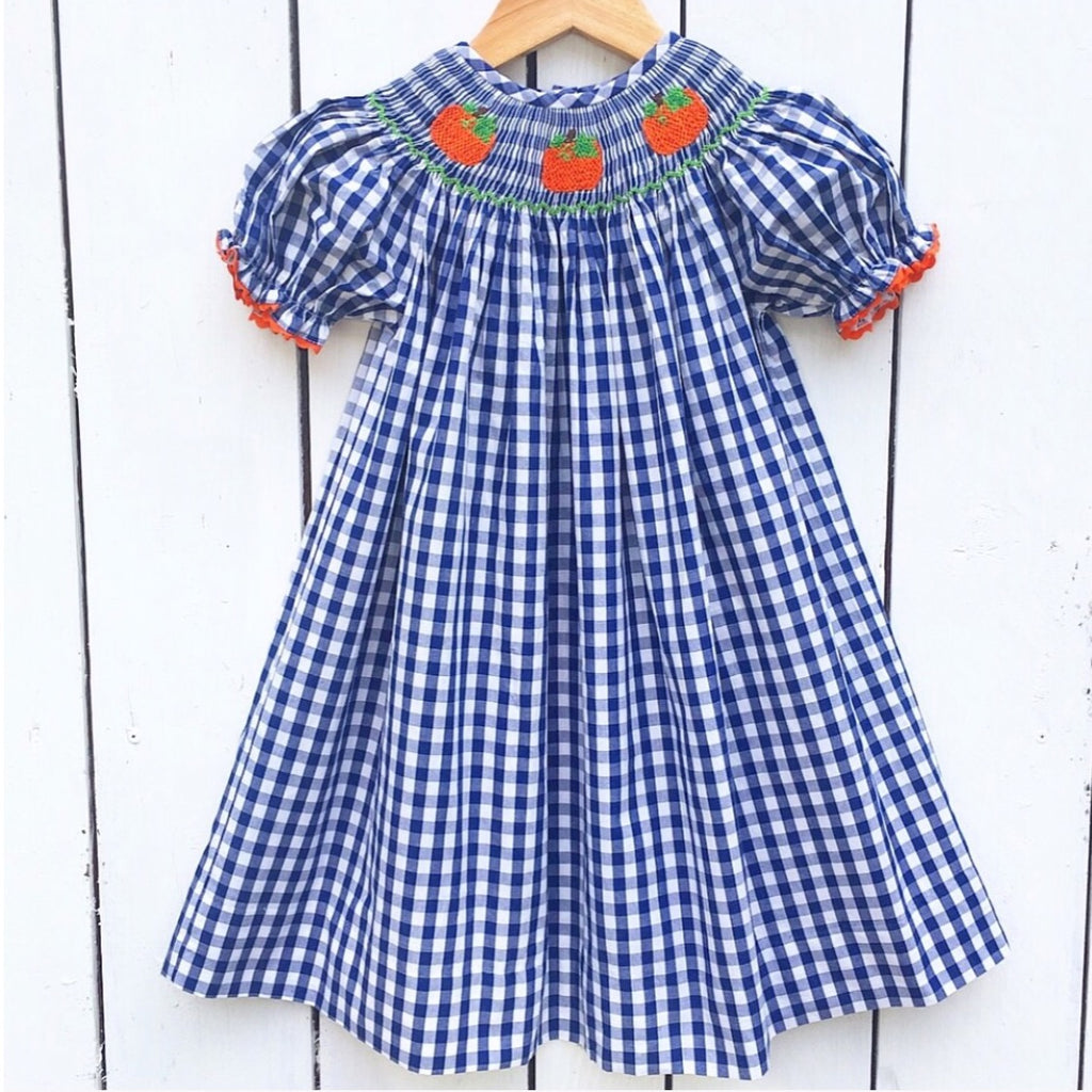 Navy Gingham Smocked Pumpkin Bishop Pre-Order