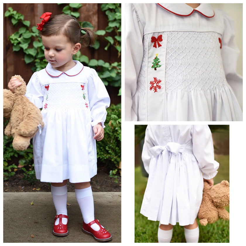 Smocked White Christmas Dress Vintage Length