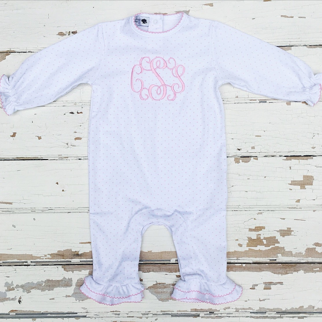 Girls Pima Cotton White with Pink Dots Monogrammed Playsuit with Ruffle Detail