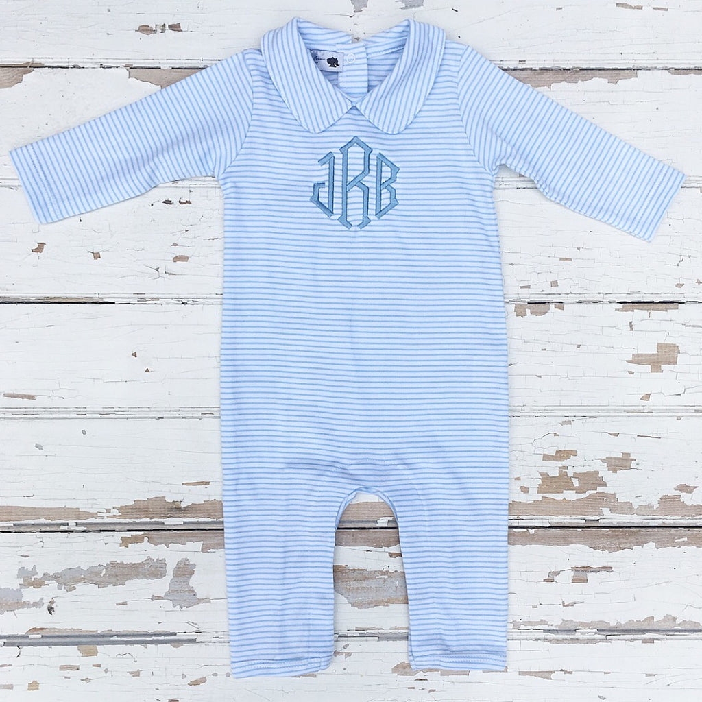 Boys Pima Cotton Blue Stripe Monogrammed Playsuit