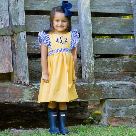 Mustard Pinafore Monogrammed Dress with Navy Gingham Ruffles and Sash