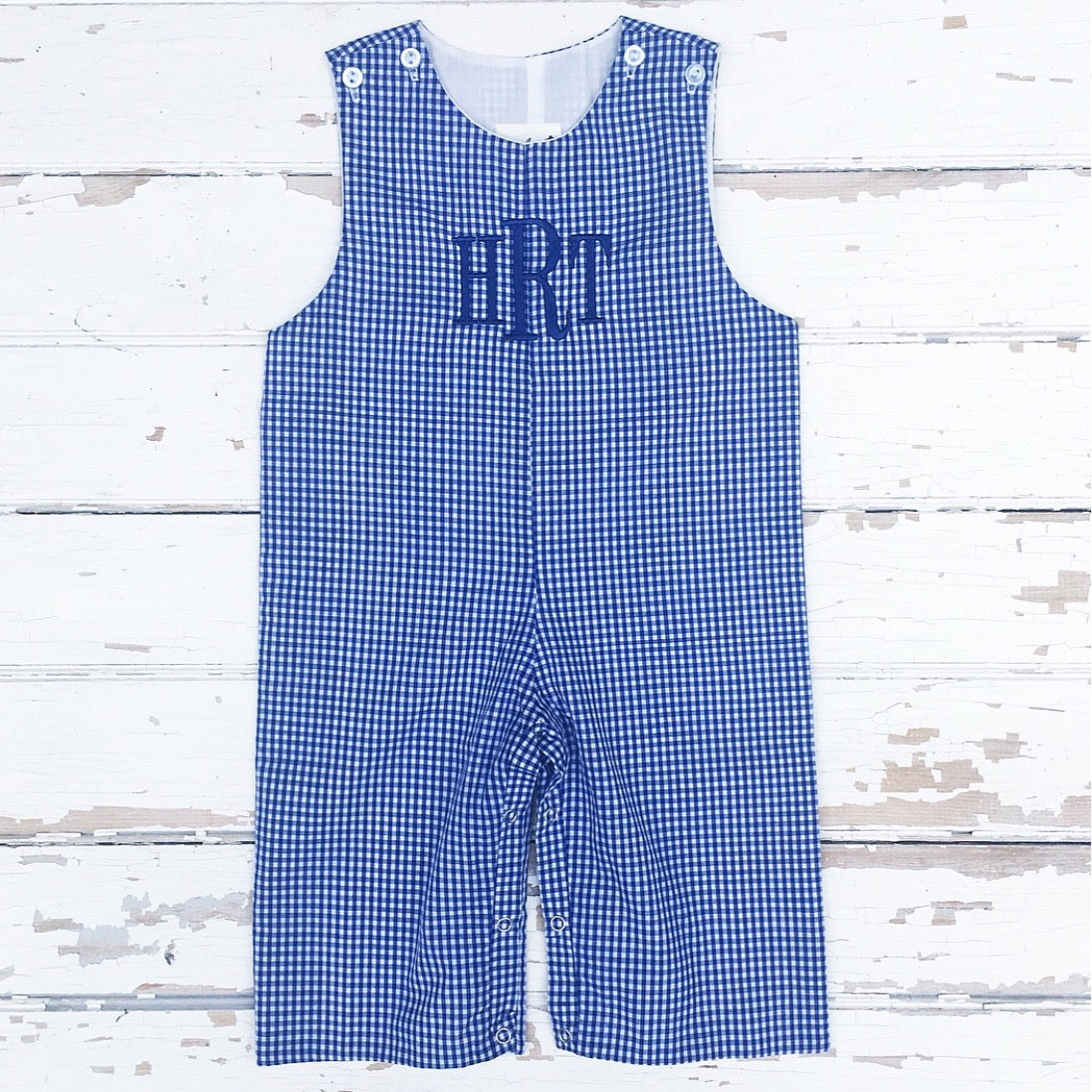 Boys Navy Gingham Monogrammed Longall