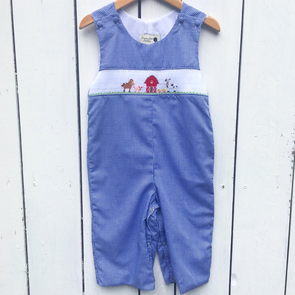Blue Gingham Smocked Farm Longall Outfit