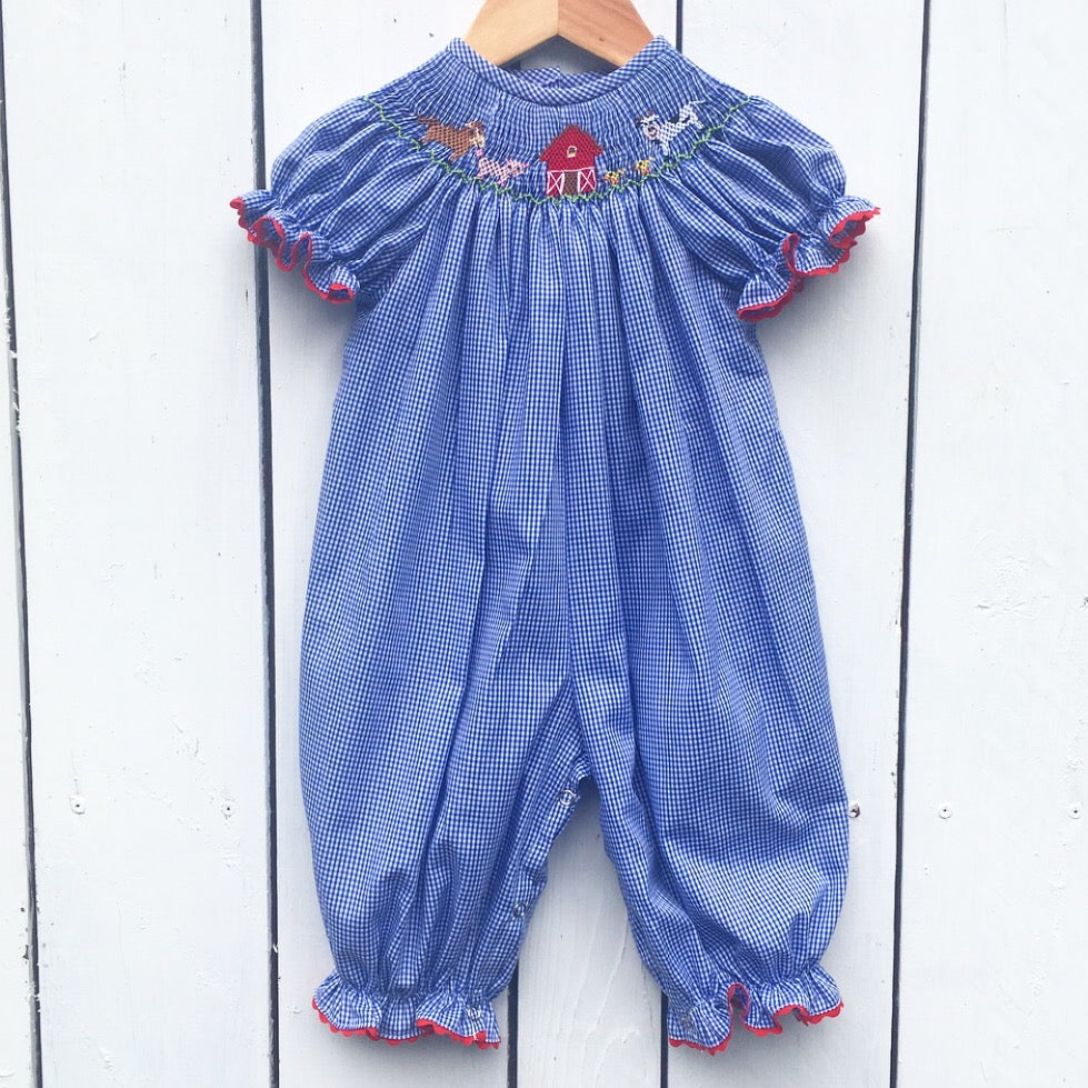 Girls Smocked Farm Bubble Romper
