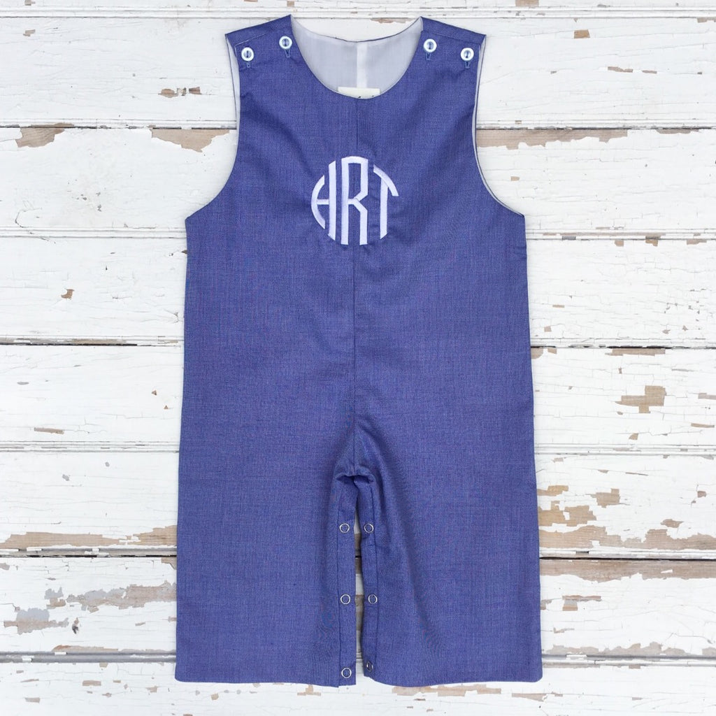 Boys Chambray Blue Monogrammed Longall