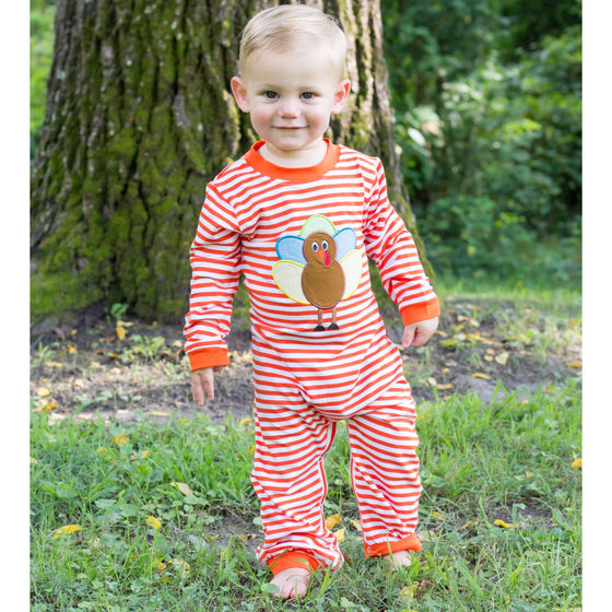 Boys Knit Turkey Applique Thanksgiving Romper Outfit