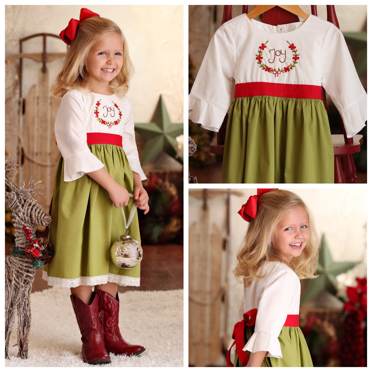 Green and White Christmas Dress with Red Sash and Joy Embroidery