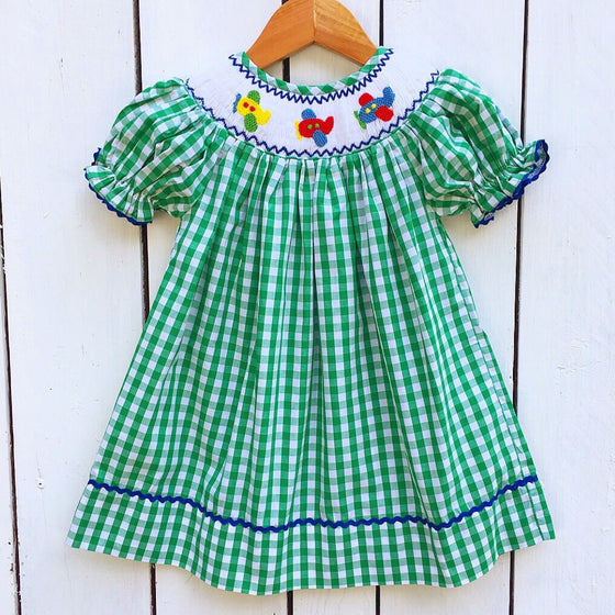 Green Gingham Smocked Airplane Bishop Dress for Girls