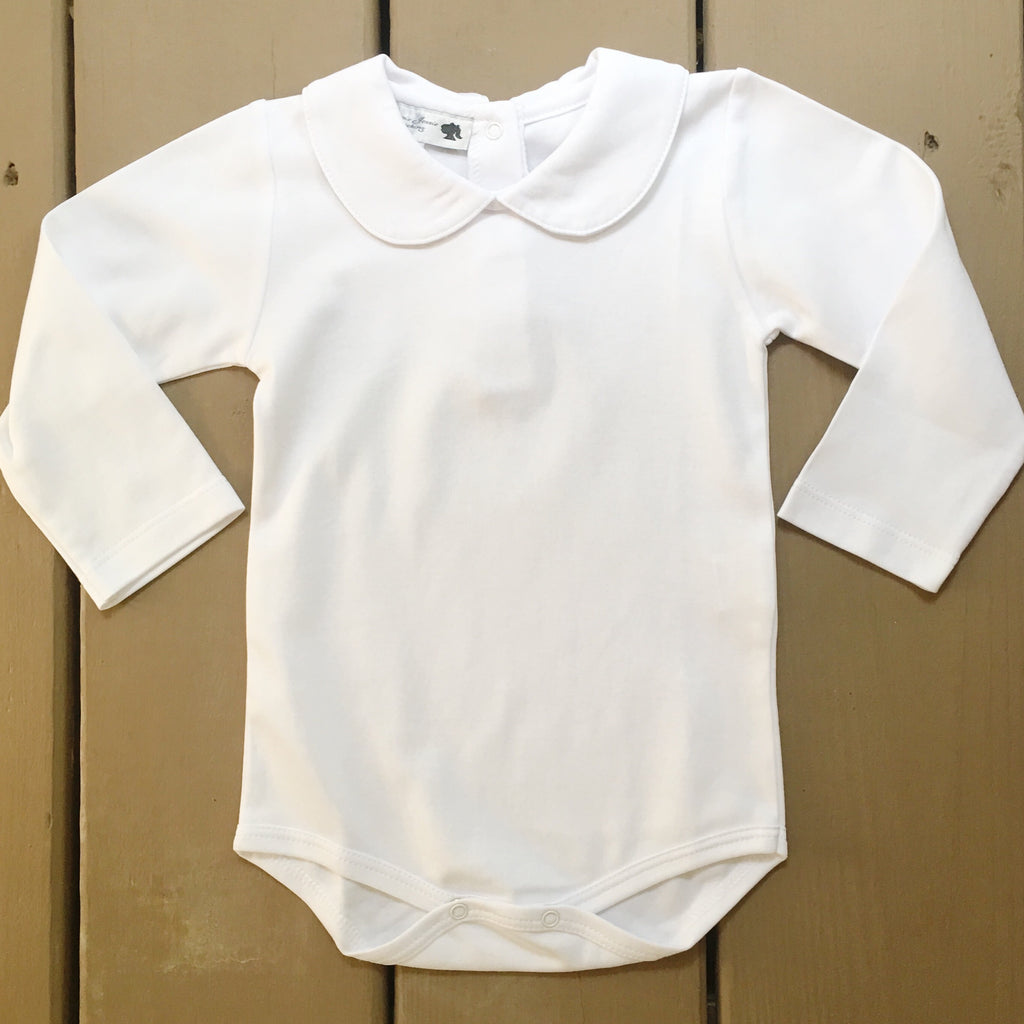 White Pima Cotton Layering Bodysuit for Girls