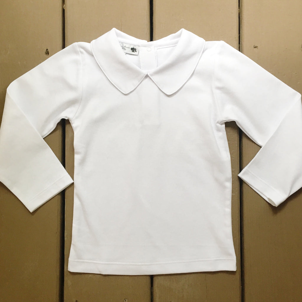 White Pima Cotton Peter Pan Collar Long Sleeve Shirt