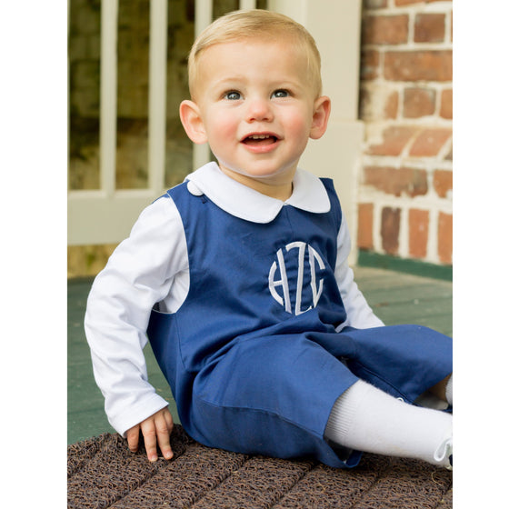 Boys Navy Blue Monogrammed Shortall with White Fabric Covered Shoulder Buttons