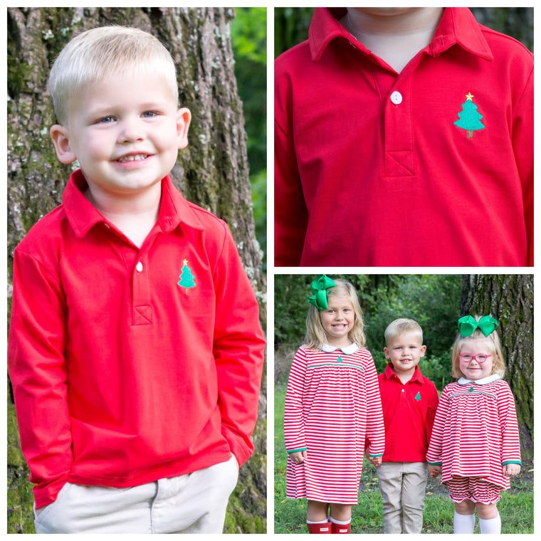 Boys Red Knit Collared Long Sleeve Shirt with Christmas Tree Embroidery