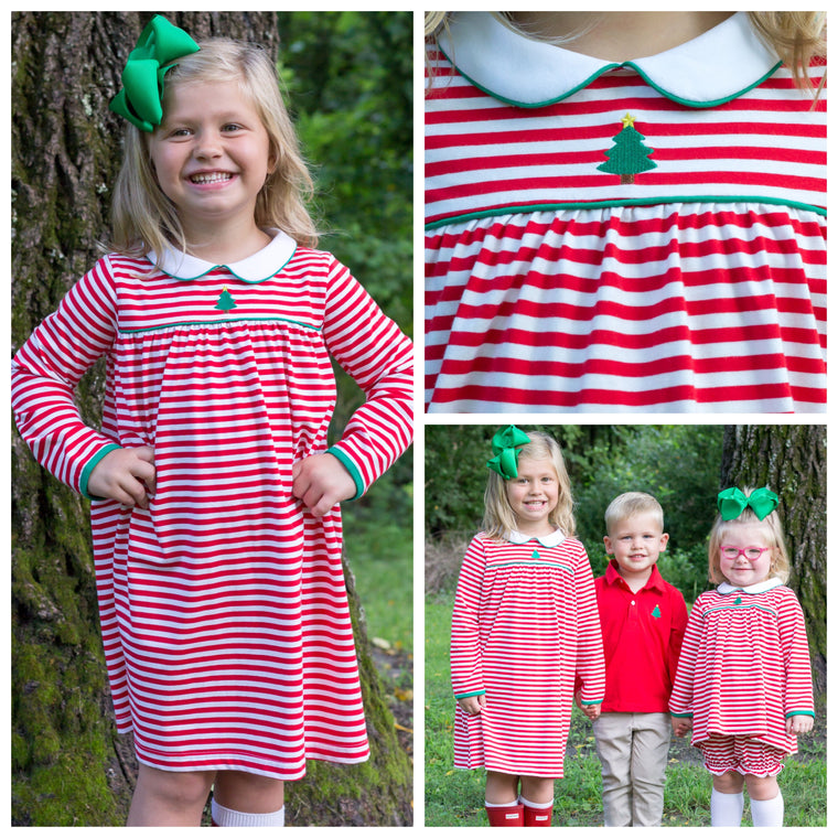 Red Stripe Knit Christmas Dress with Christmas Tree Embroidery