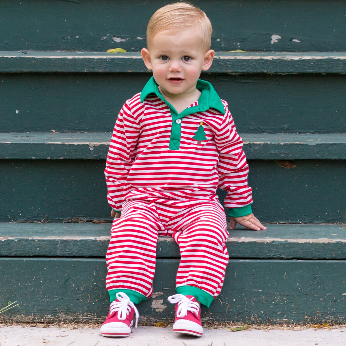 Boys Red Stripe Knit Christmas Romper with Christmas Tree Embroidery