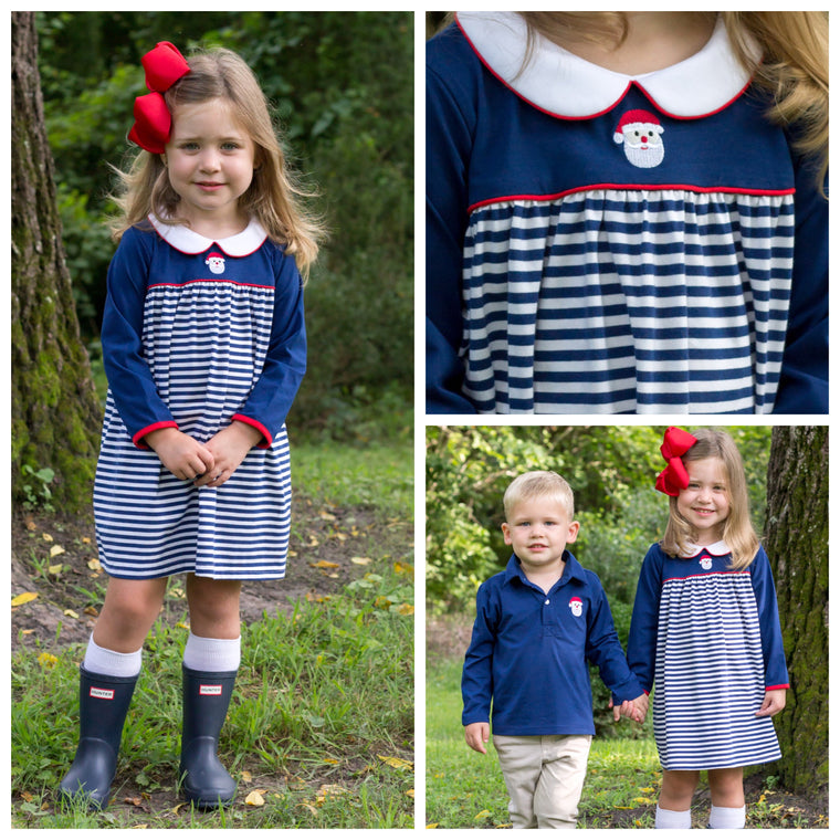 Navy Blue Knit Christmas Dress with Santa Claus Embroidery