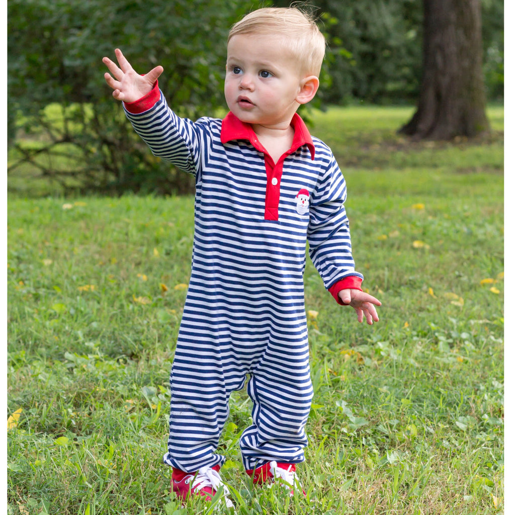 Navy Blue Stripe Knit Baby Boy Romper Santa Claus Christmas Embroidery
