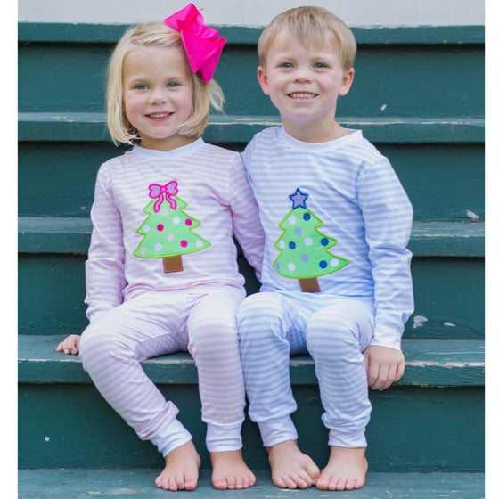 Pink Stripe Knit Christmas Pajamas with Christmas Tree Applique