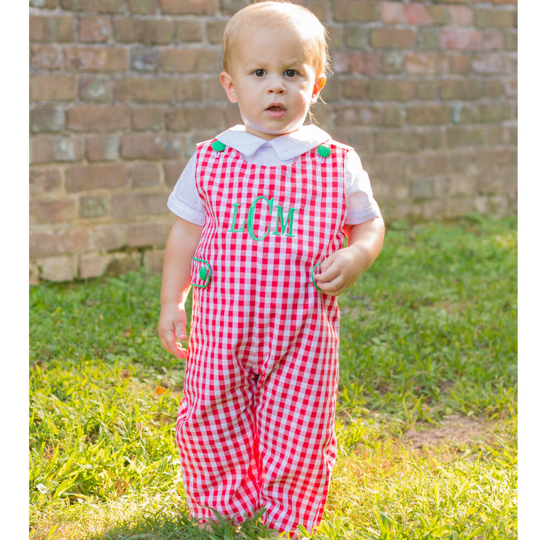 Red Gingham Christmas Longall Green Monogram Baby Toddler Boy