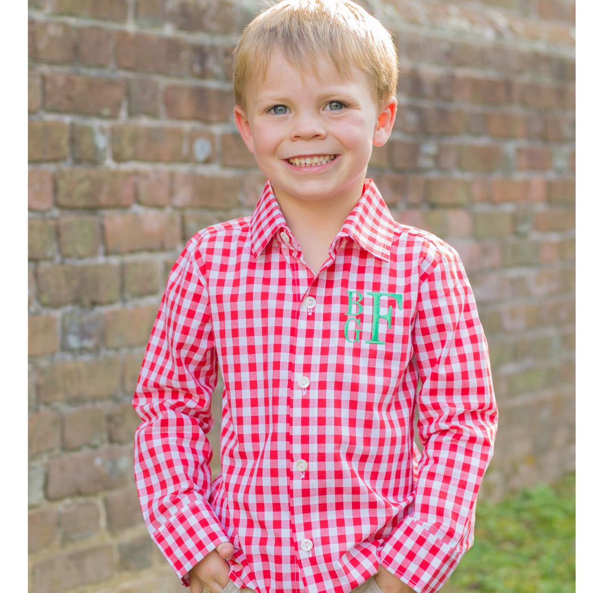 Boys Red Gingham Button Up Shirt Christmas Green Monogram